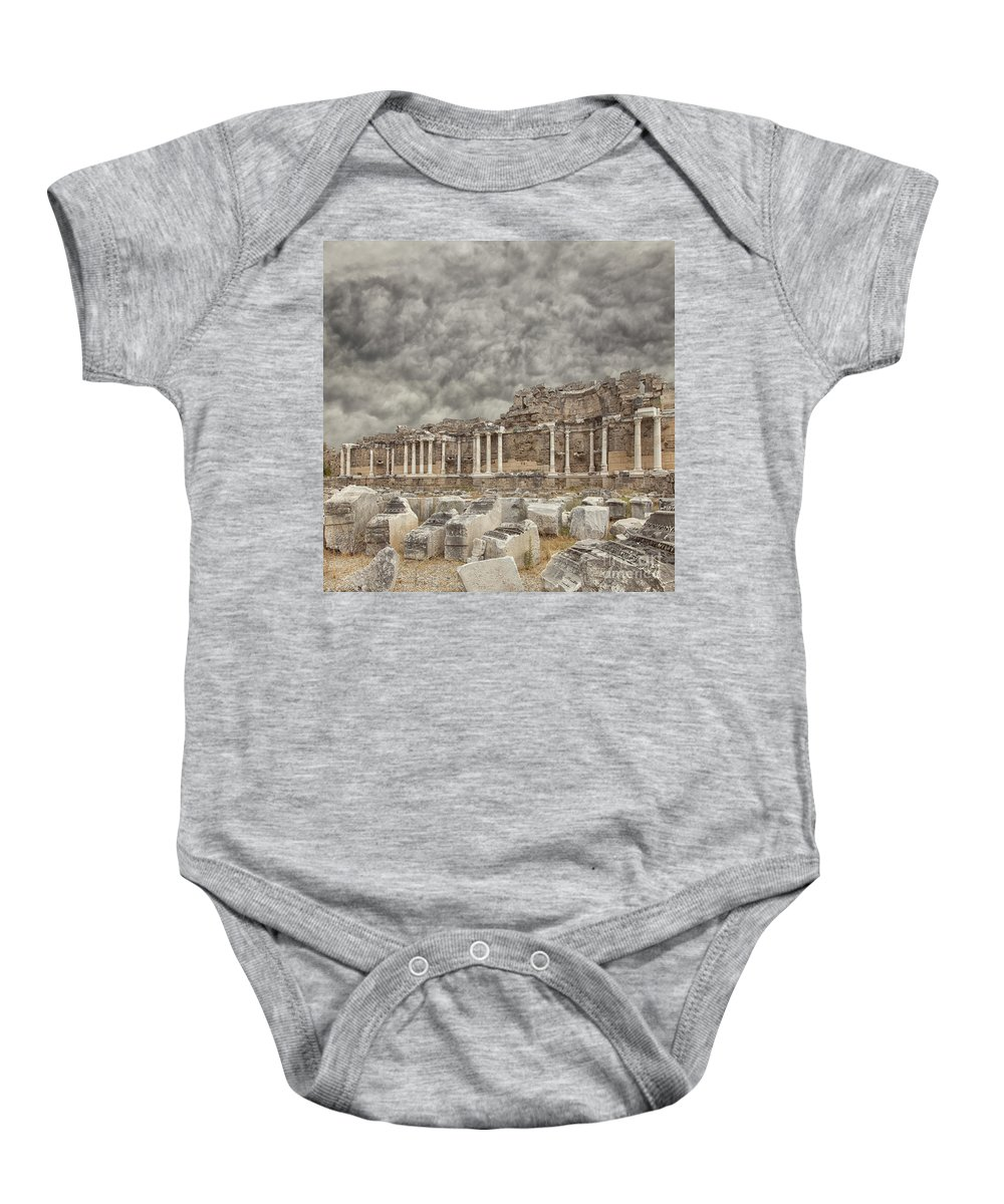 Nymphaeum Baby Onesie featuring the photograph Side Nymphaeum Fountain Ruins by Sophie McAulay