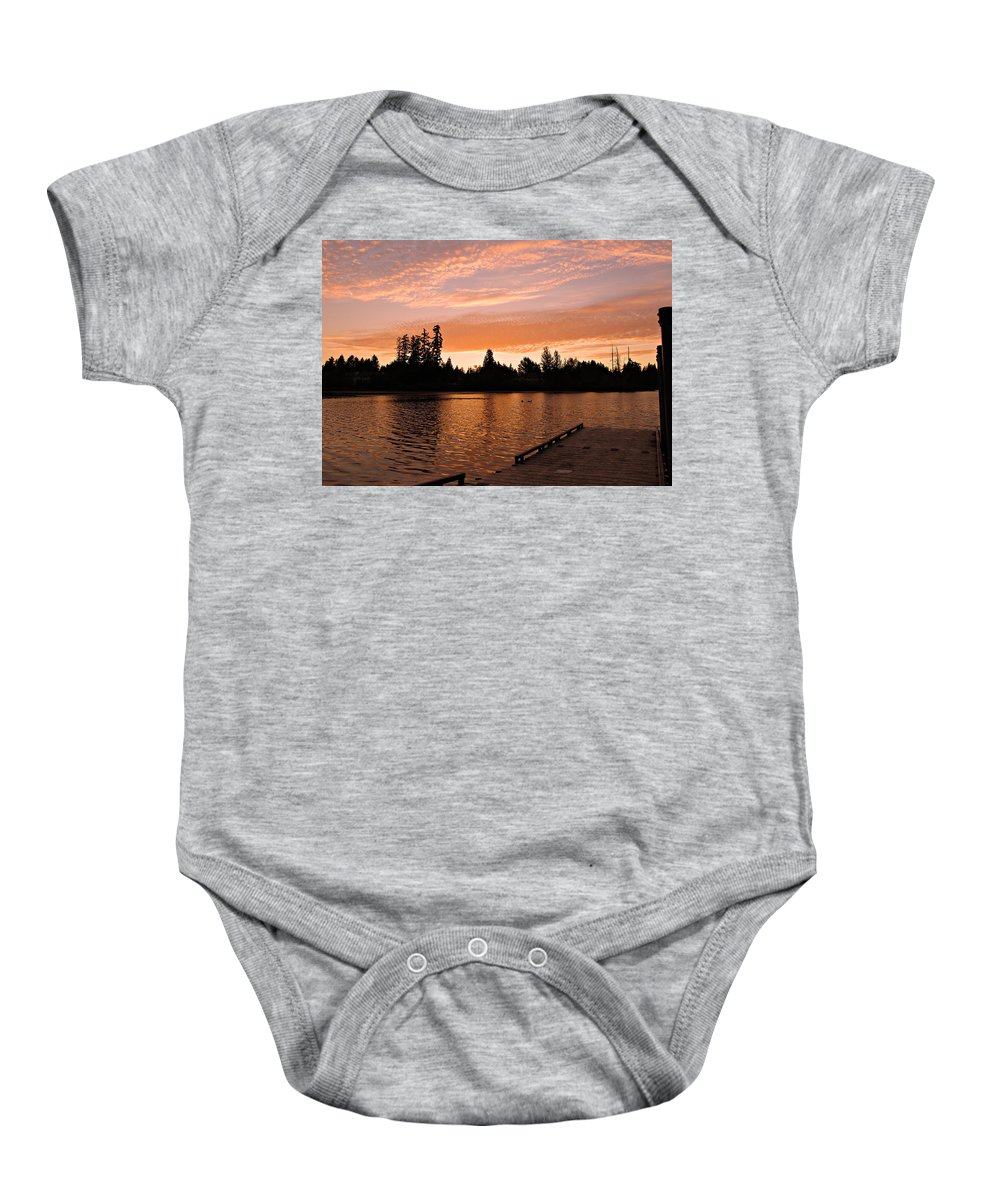 Landscape Baby Onesie featuring the photograph Silver Lake Sunset by Paul Fell