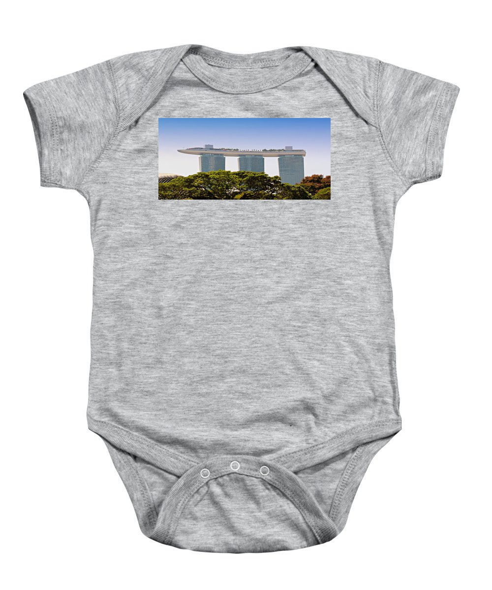Singapore Baby Onesie featuring the photograph Singapore Marina Bay Sands And Skypark by Paul Fell