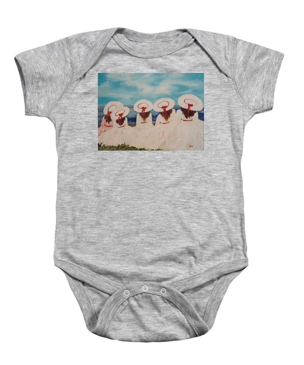 Sisters Baby Onesie featuring the painting Sisters by Lord Frederick Lyle Morris