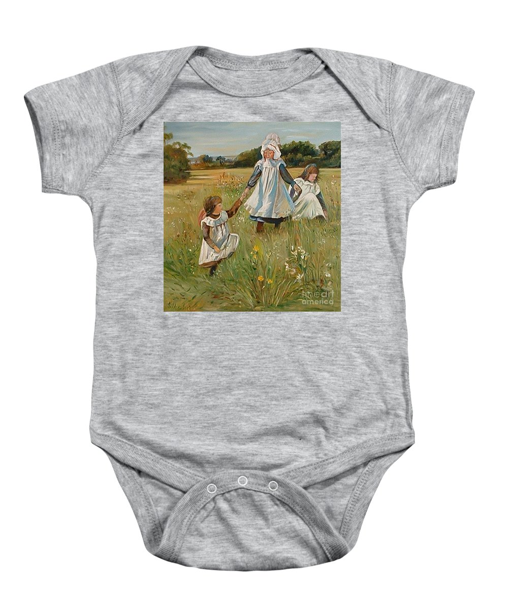 Classic Art Baby Onesie featuring the painting Sisters by Silvana Abel