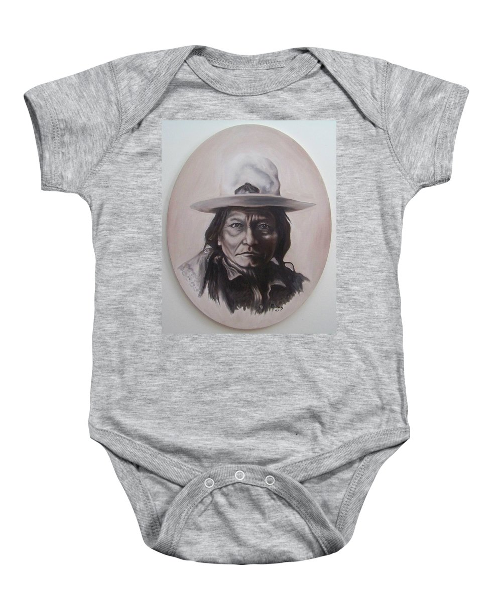 Michael Baby Onesie featuring the painting Sitting Bull by Michael TMAD Finney