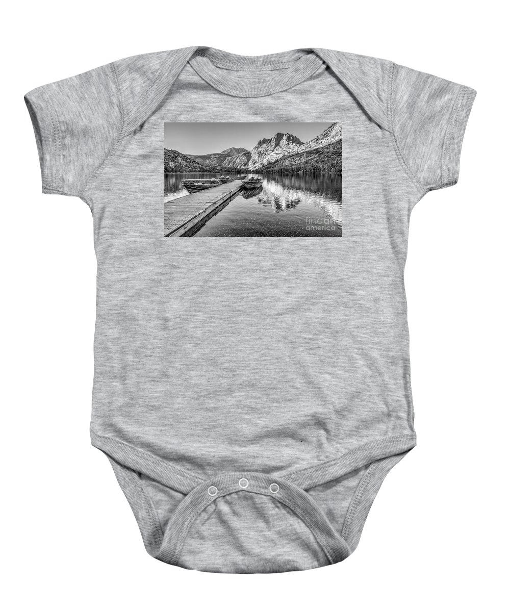 Black And White Baby Onesie featuring the photograph Silver Lake by Beth Sargent