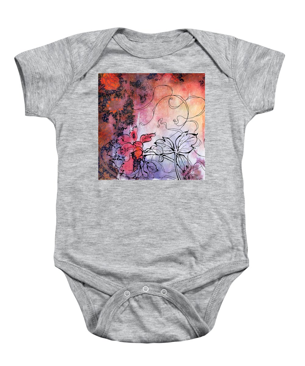 Flowers Baby Onesie featuring the painting Sketchflowers - Calendula by MGL Meiklejohn Graphics Licensing
