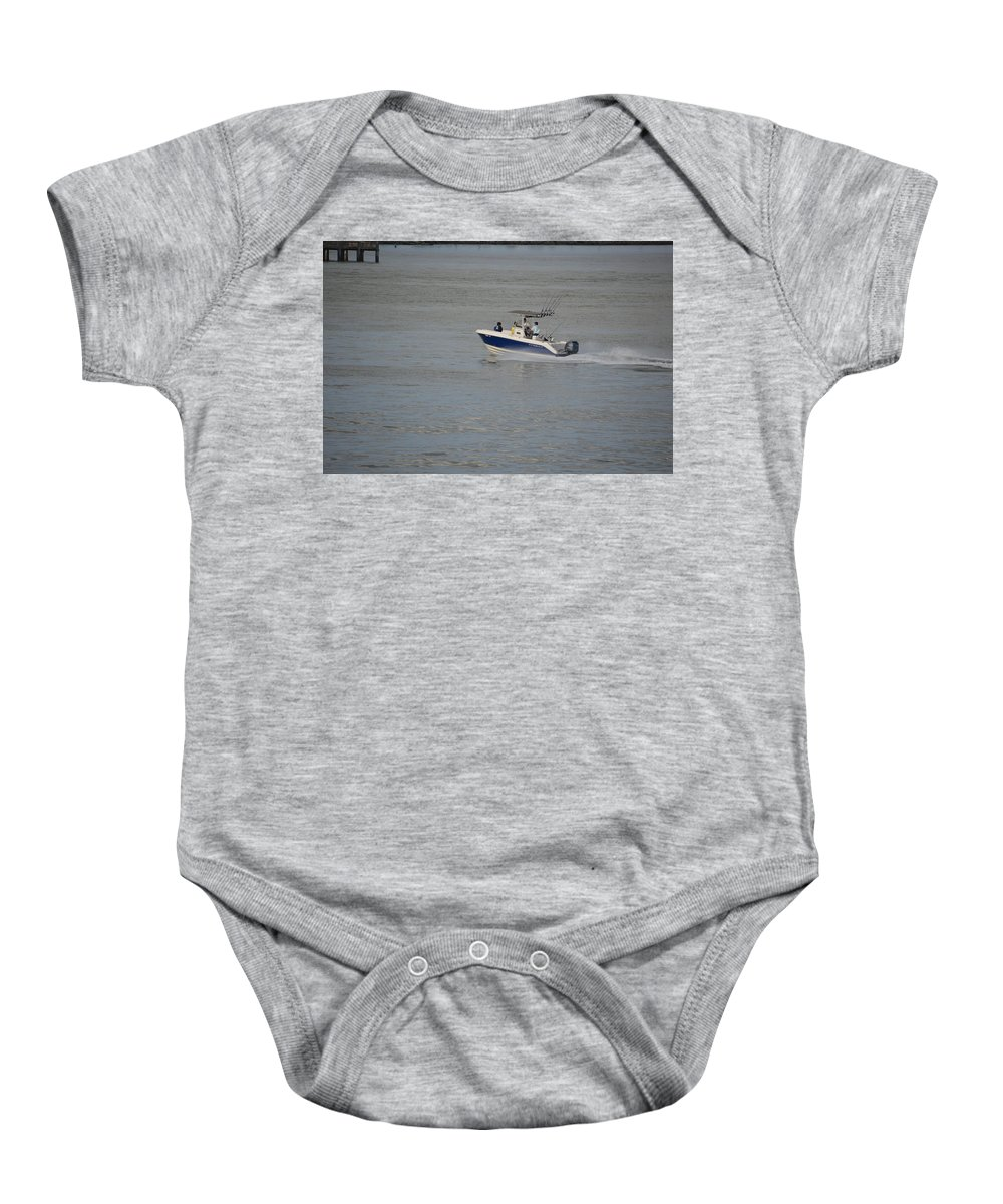 Fishing Baby Onesie featuring the photograph Skimming The Water by Richard Booth