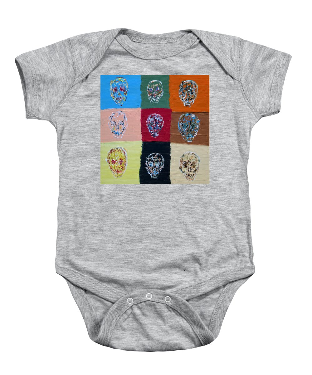 Skull Baby Onesie featuring the painting Skull Pop Nine by Fabrizio Cassetta