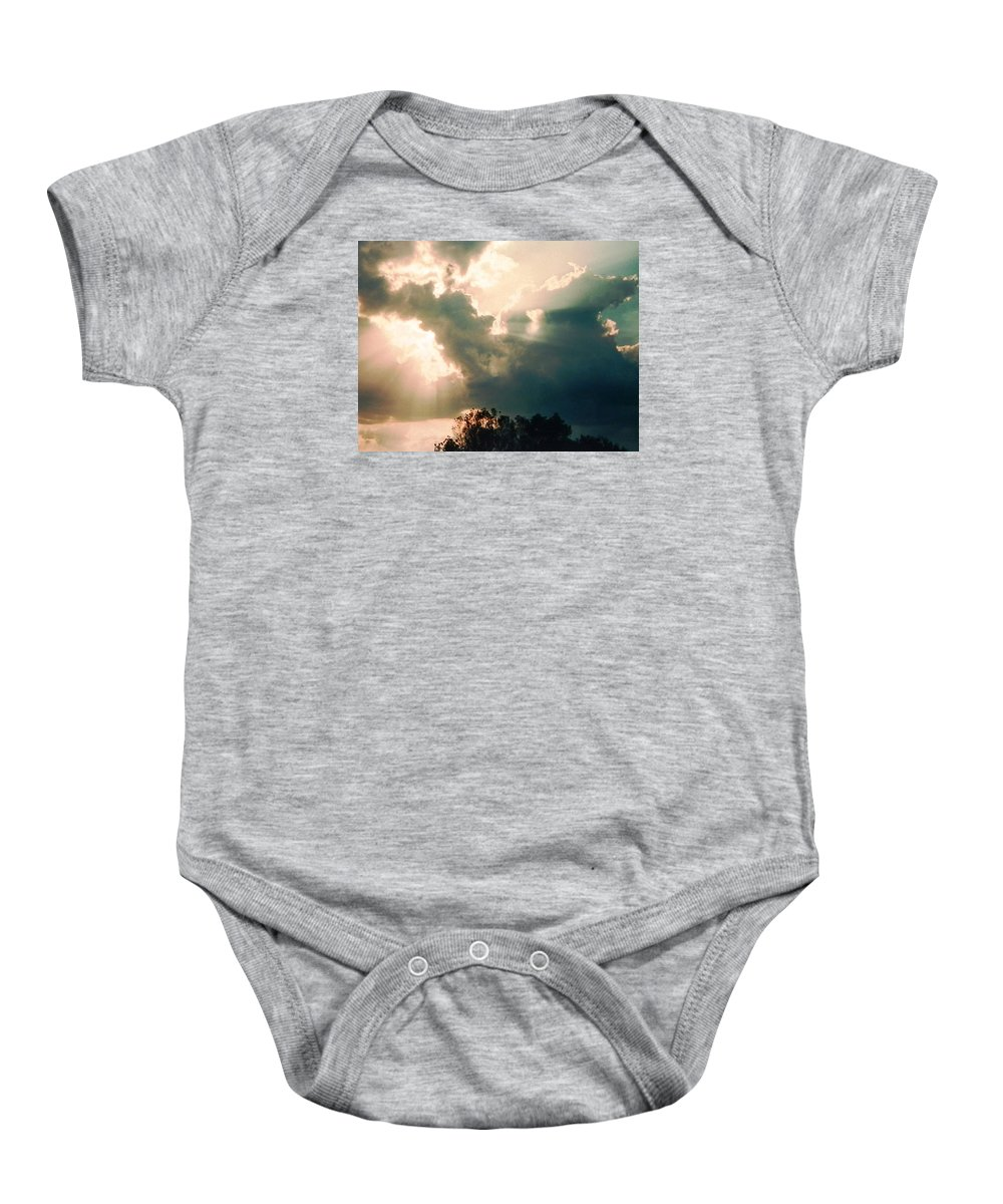 Cool Looking Baby Onesie featuring the photograph Cowboy Sky Rider On A Horse by Belinda Lee