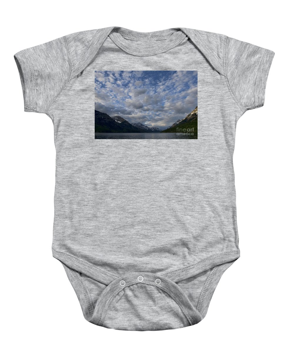 Mountains Baby Onesie featuring the photograph Sky Water Mountains by David Arment