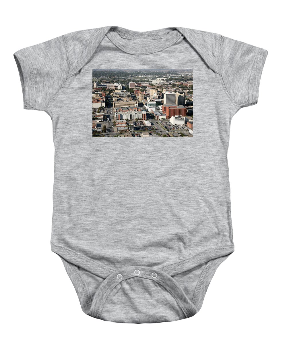 Aerial Baby Onesie featuring the photograph Skyline Of Lincoln Nebraska by Bill Cobb