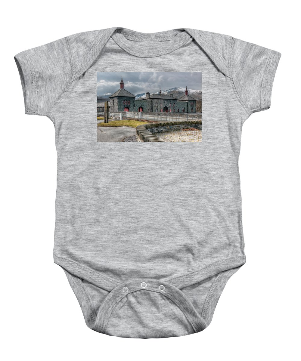 Dinorwig Baby Onesie featuring the photograph Slate Museum by Adrian Evans