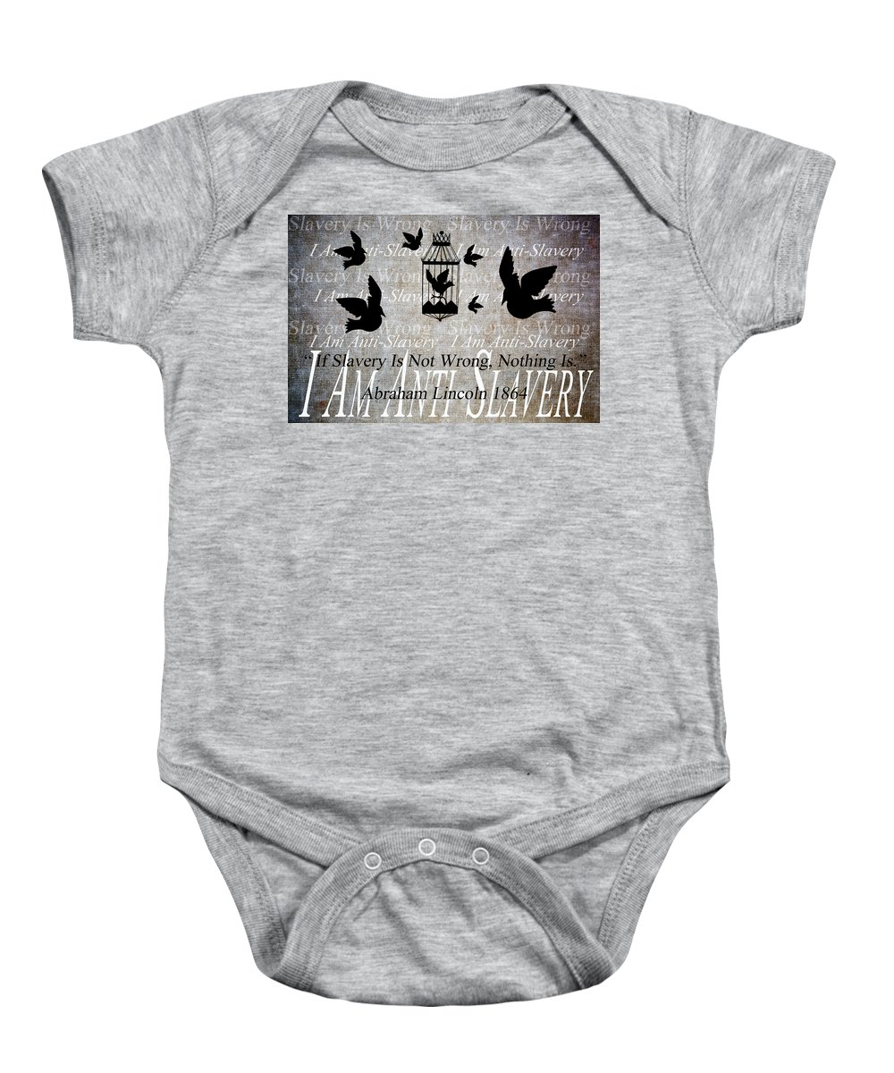 Texture Baby Onesie featuring the digital art Slavery by Angelina Vick