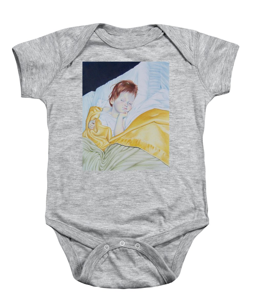 Baby Baby Onesie featuring the mixed media Sleeping Beauty by Constance Drescher