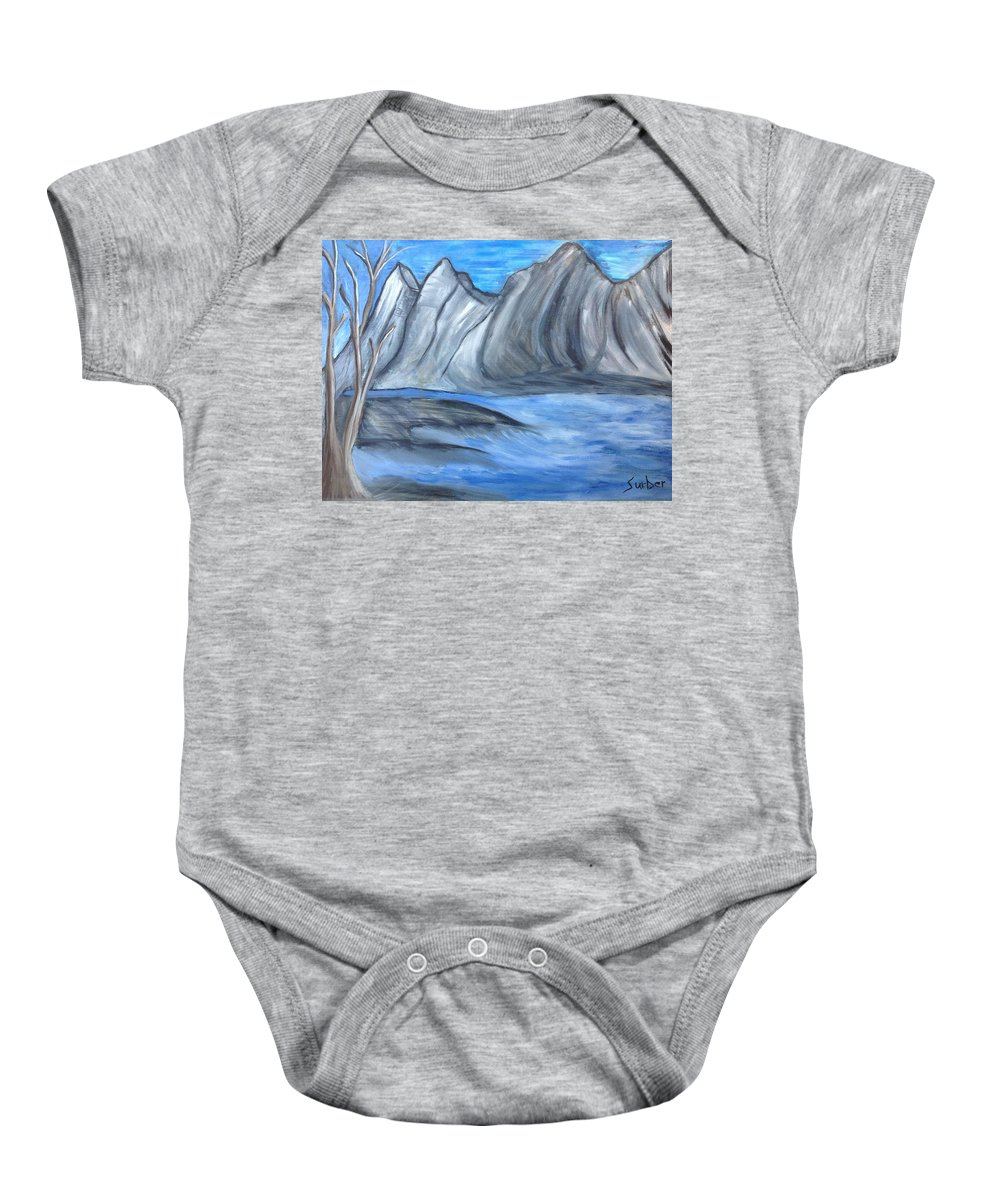 Tree Baby Onesie featuring the painting Sleepy Mountain by Suzanne Surber