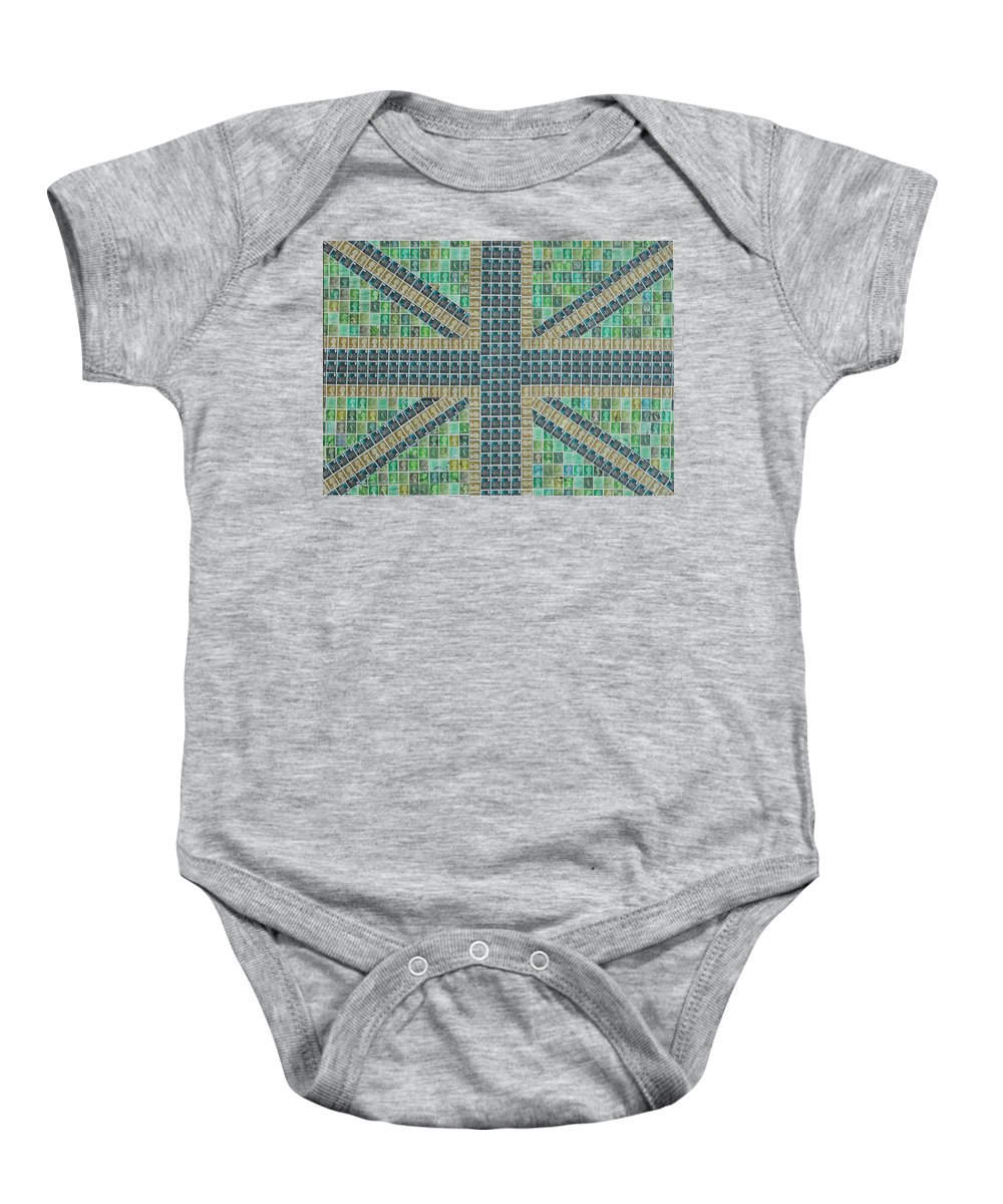 Union Jack Baby Onesie featuring the painting Small Green Flag by Gary Hogben