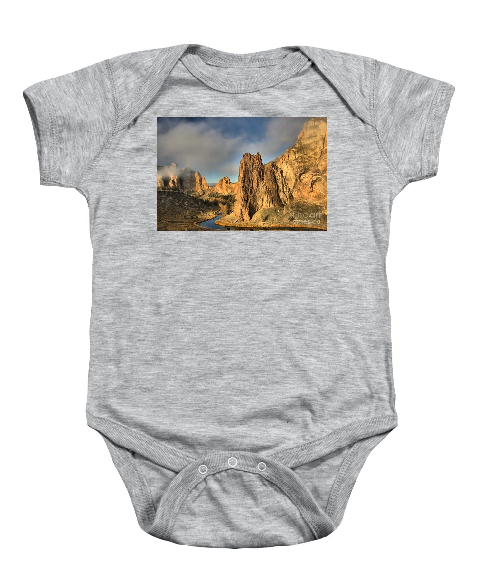 Smith Rock Baby Onesie featuring the photograph Smith Rock Foggy Morning by Adam Jewell