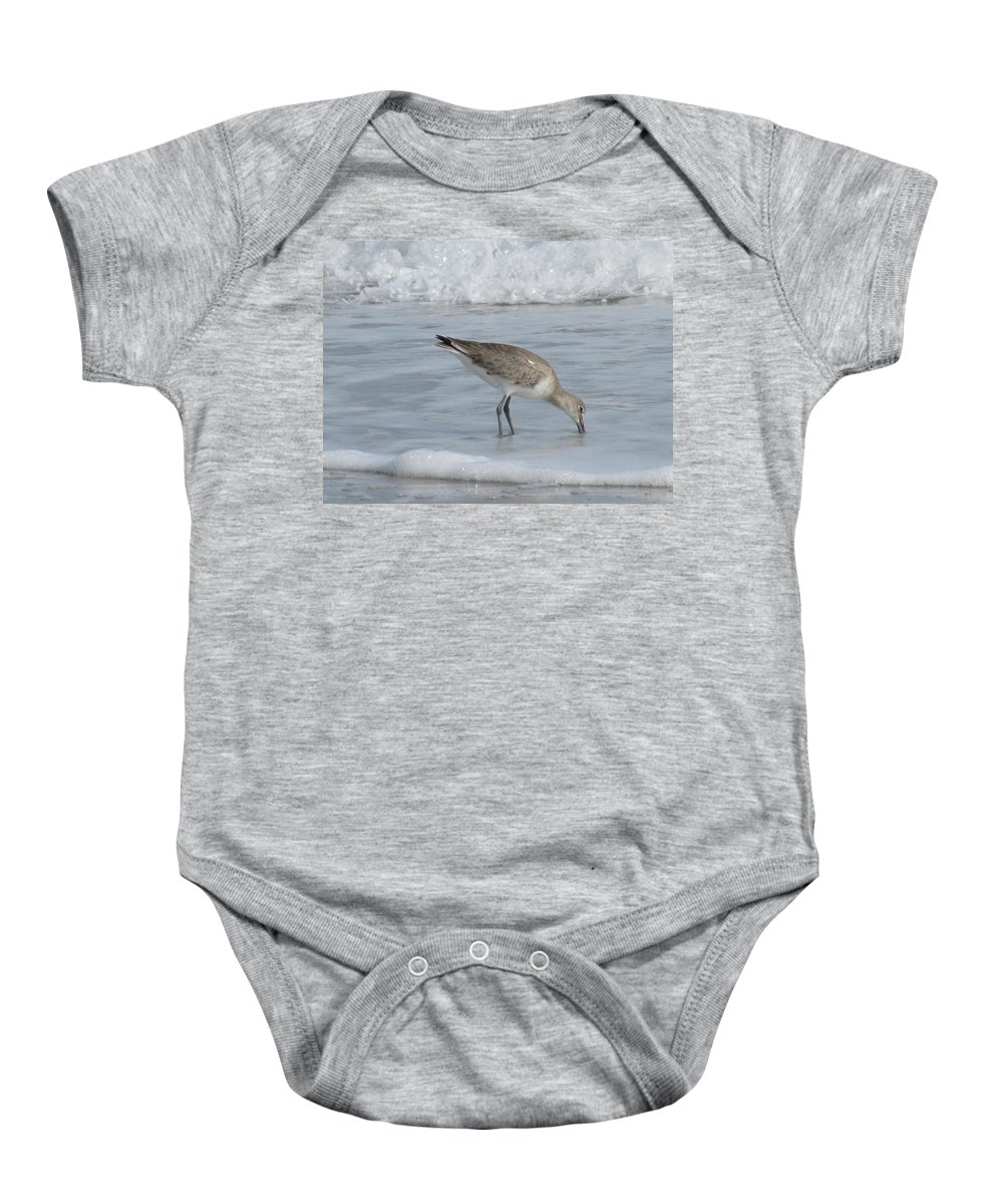 Landscape Baby Onesie featuring the photograph Snacking Sandpiper by Ellen Meakin