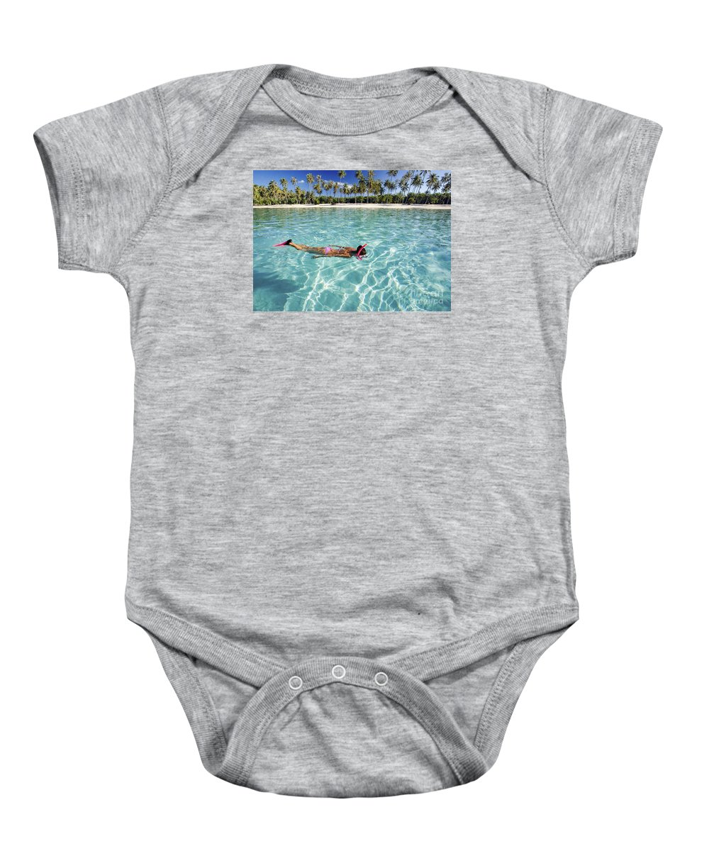 Amaze Baby Onesie featuring the photograph Snorkeling In Polynesia by M Swiet Productions