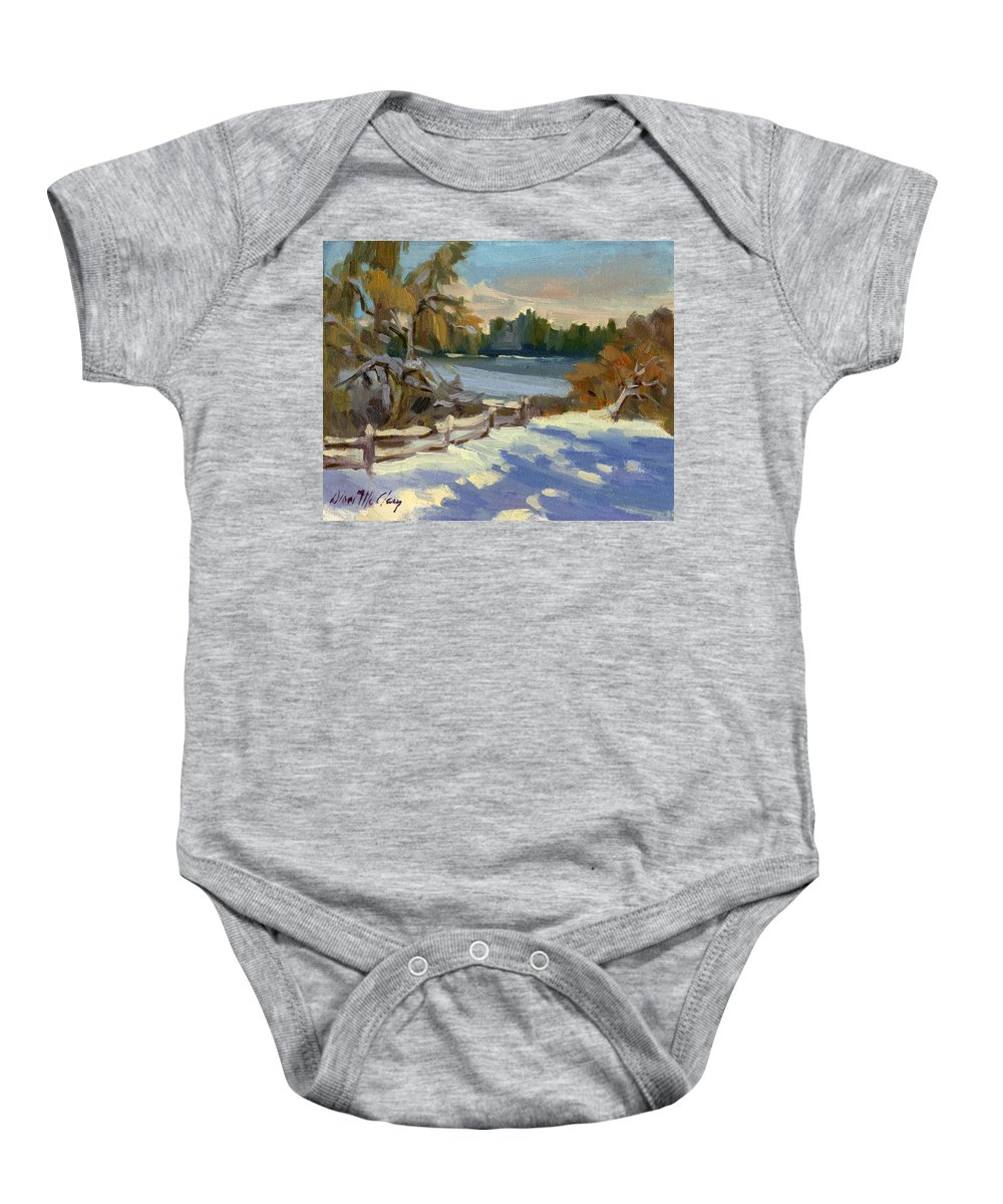Snow Baby Onesie featuring the painting Snow At Martha Lake by Diane McClary