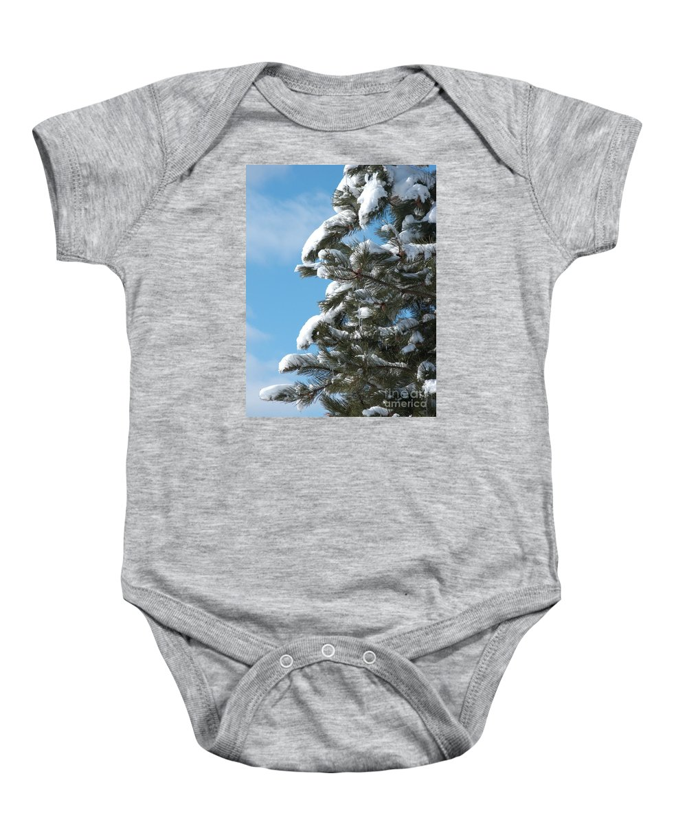 Snow Baby Onesie featuring the photograph Snow-clad Pine by Ann Horn