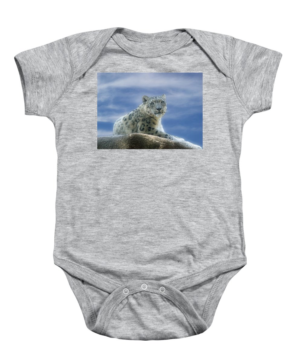 Snow Leopard Baby Onesie featuring the photograph Snow Leopard by Sandy Keeton