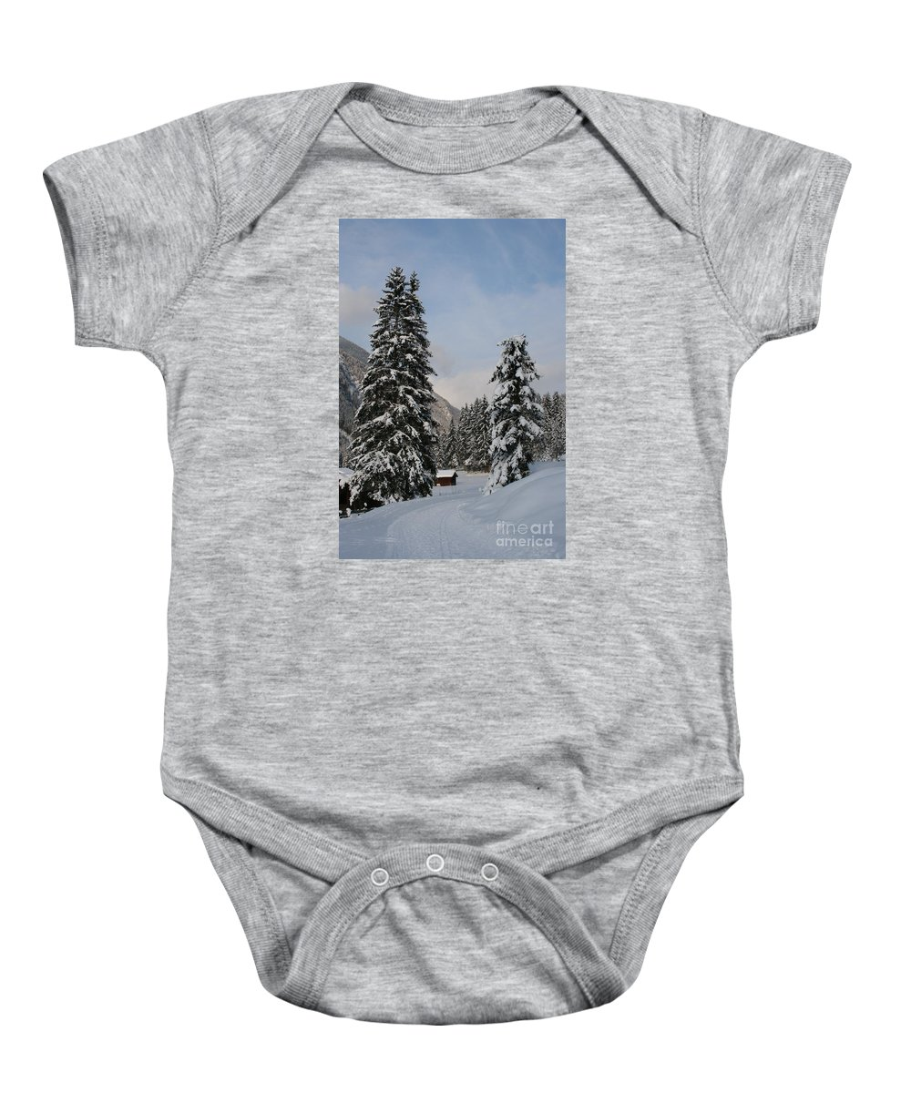 Snow Baby Onesie featuring the photograph Snowy Fir Trees by Christiane Schulze Art And Photography