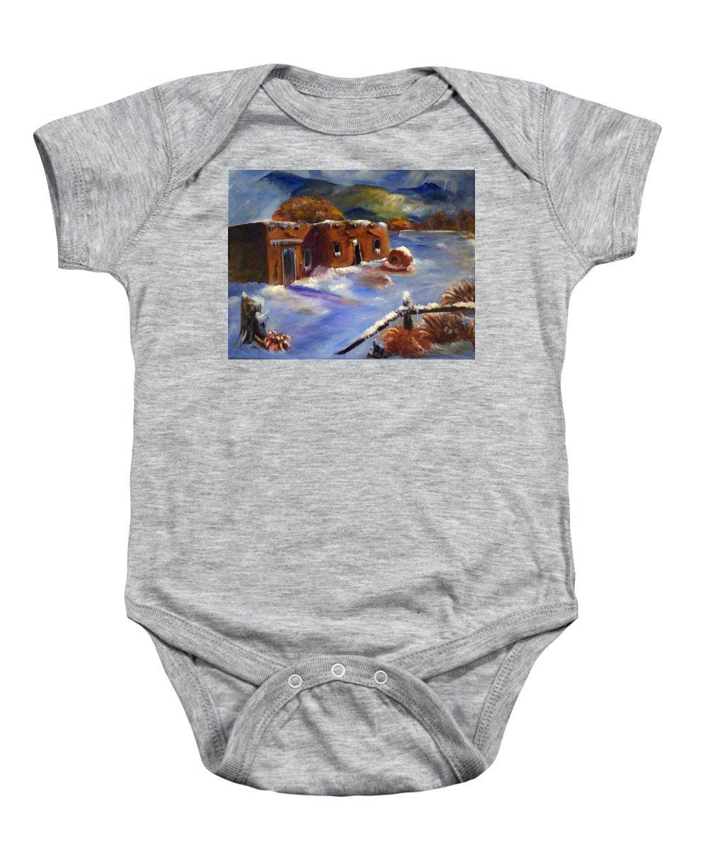 Snow Baby Onesie featuring the painting Snowy Morning by Sue Stake