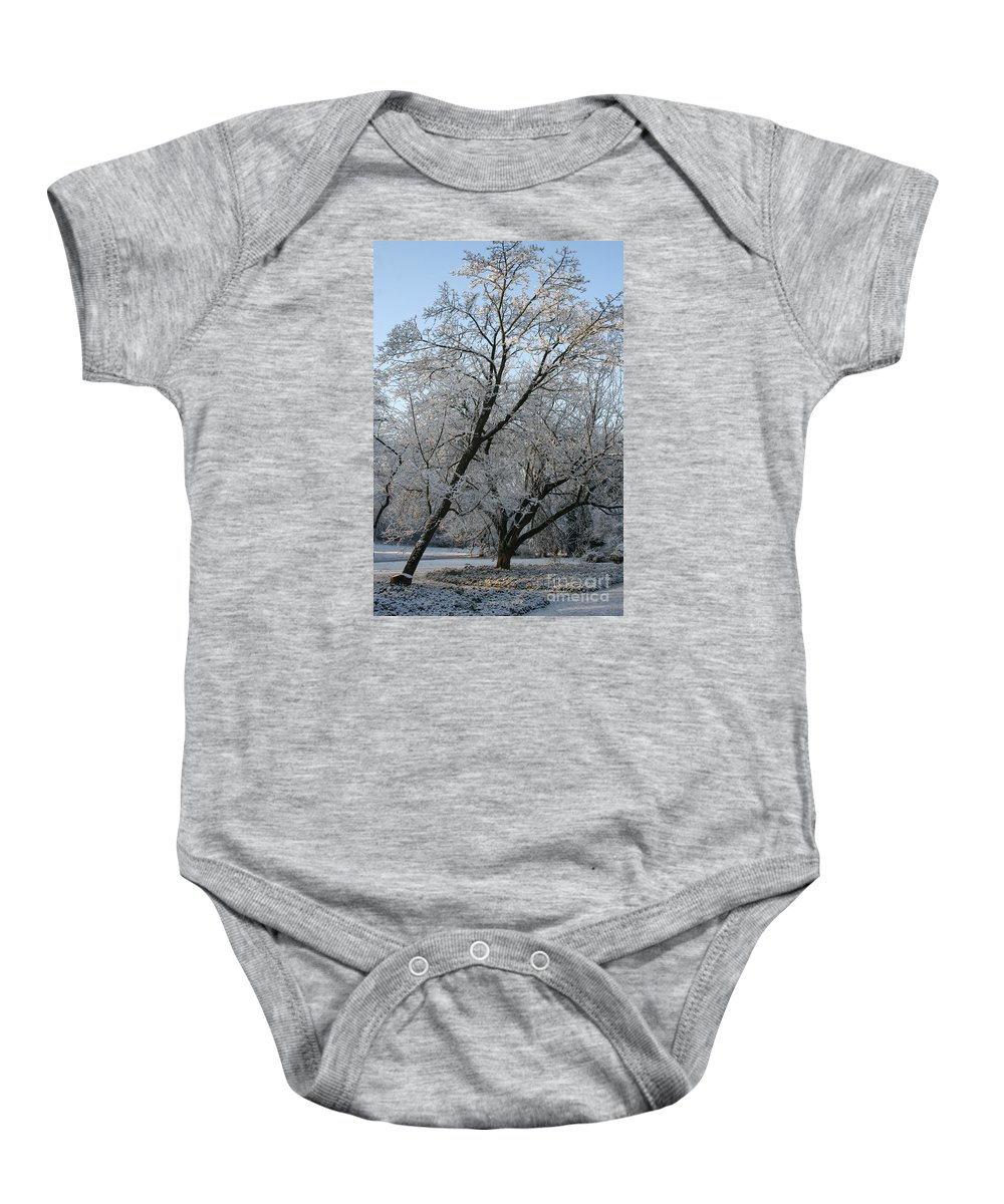 Snow Baby Onesie featuring the photograph Snowcovered Trees by Christiane Schulze Art And Photography