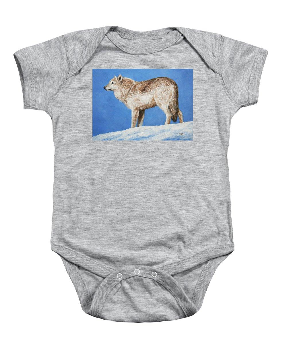 Arctic Wolf Paintings Baby Onesies