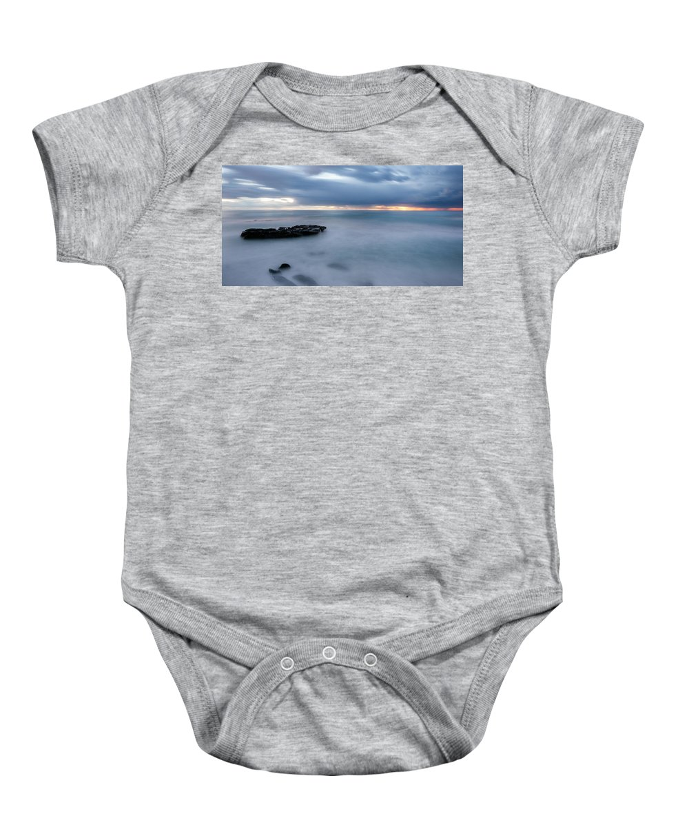 Beach Baby Onesie featuring the photograph Soft Blue And Wide by Peter Tellone