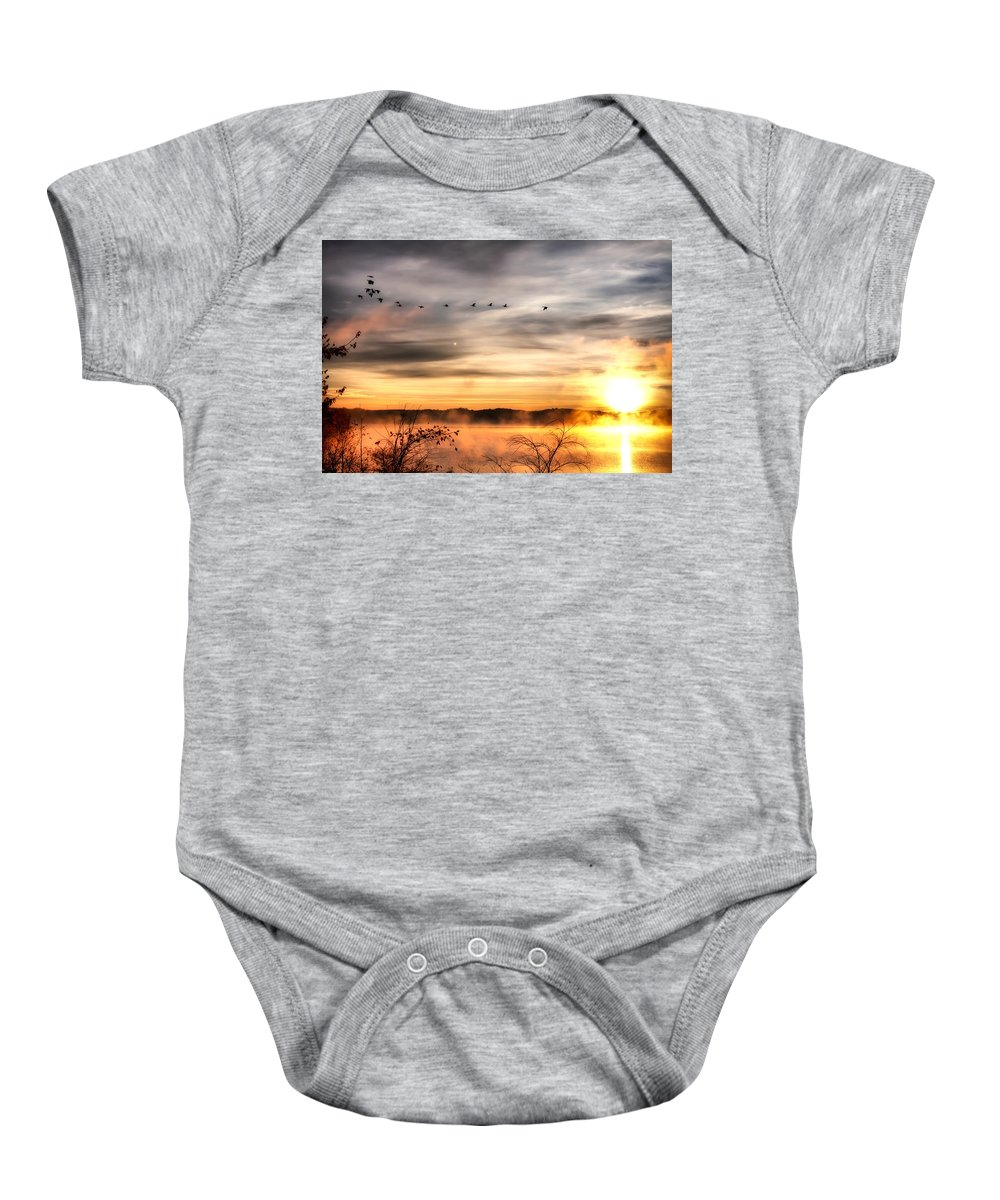 Lake Baby Onesie featuring the photograph South Carolina Morning by Lynne Jenkins