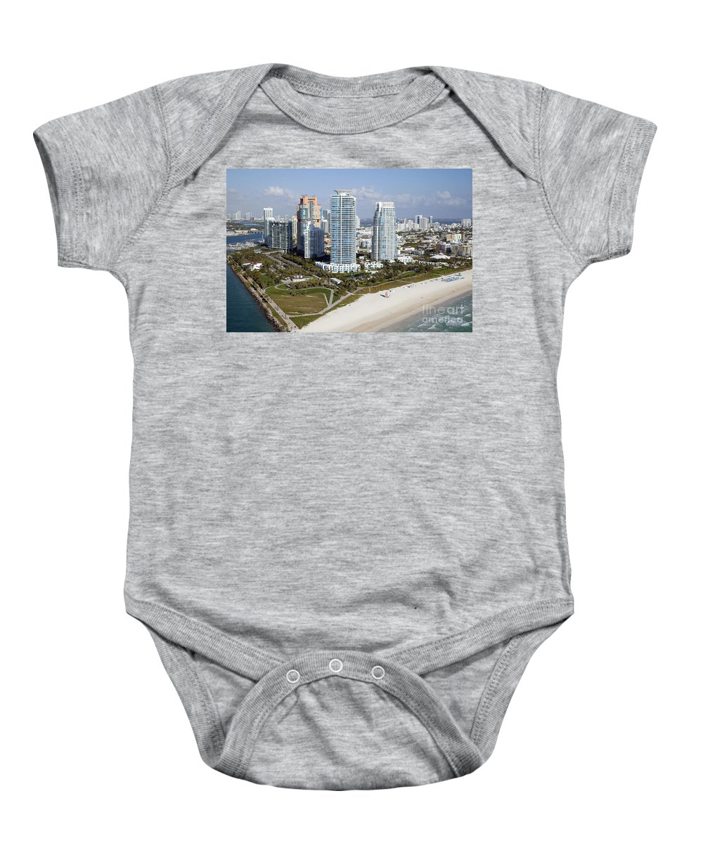 Florida Baby Onesie featuring the photograph South Pointe Park Miami Beach Florida by Bill Cobb