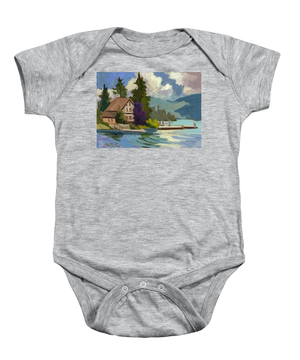 South Shore Baby Onesie featuring the painting South Shore Big Bear Lake by Diane McClary