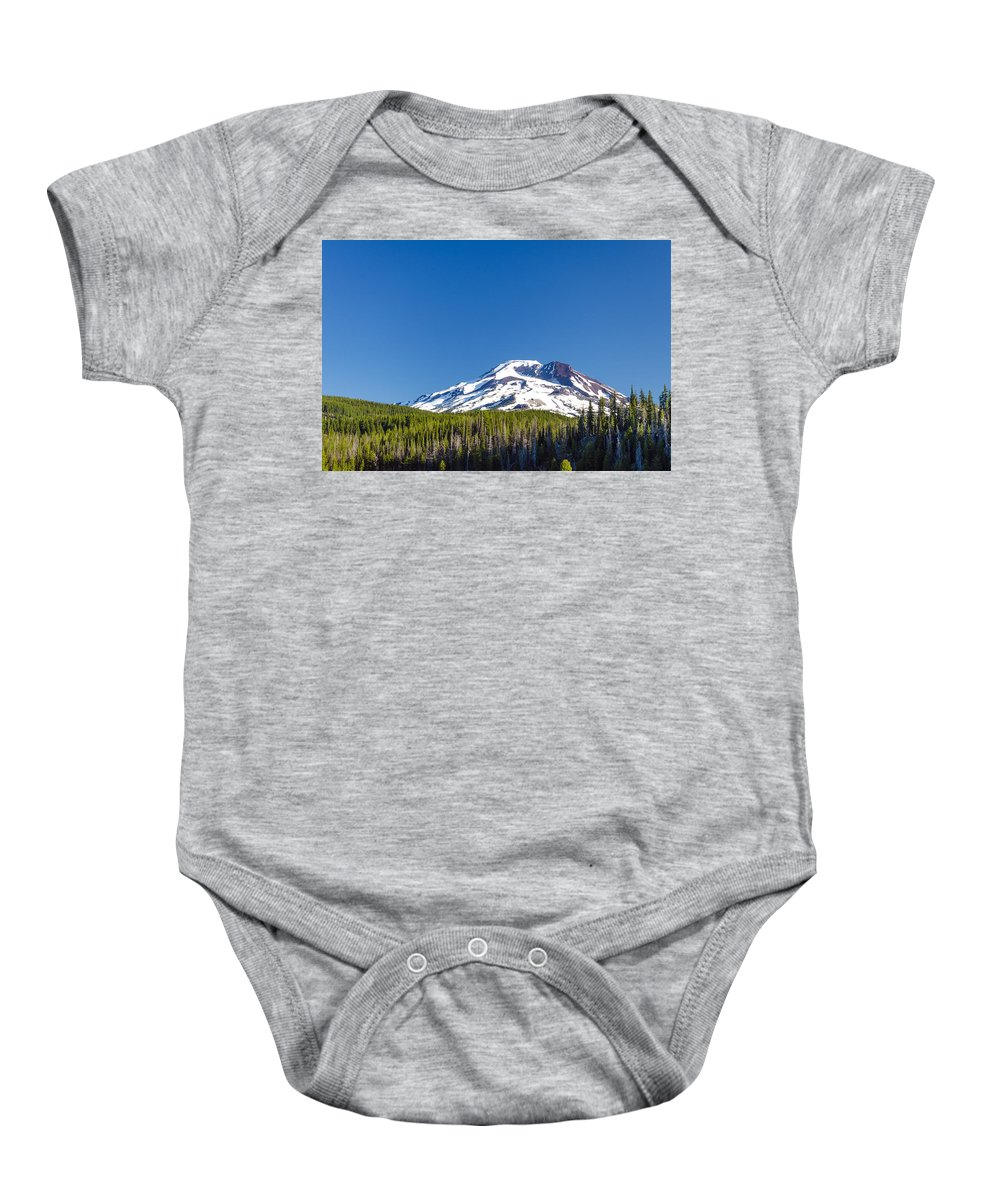 Mountain Baby Onesie featuring the photograph South Sister by Jess Kraft