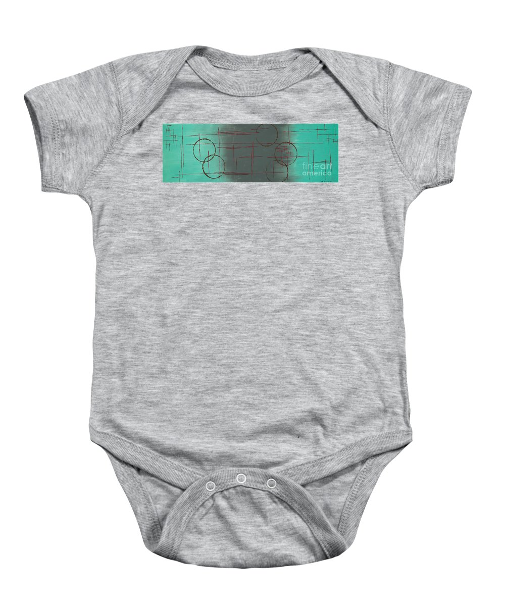 Space Baby Onesie featuring the painting Space Configuration by Paulette B Wright