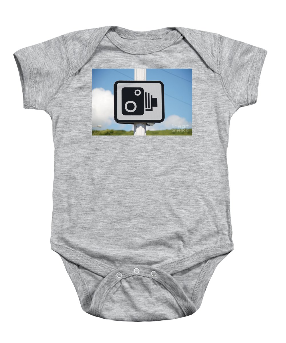 Speed Baby Onesie featuring the photograph Speed Camera Sign Folkestone by David Fowler