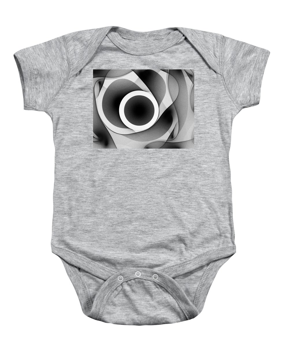 Grey Gray Black White Fractal Digital Art Abstract Expressionism Impressionism Sphere 7 Baby Onesie featuring the painting Sphere 7 by Steve K