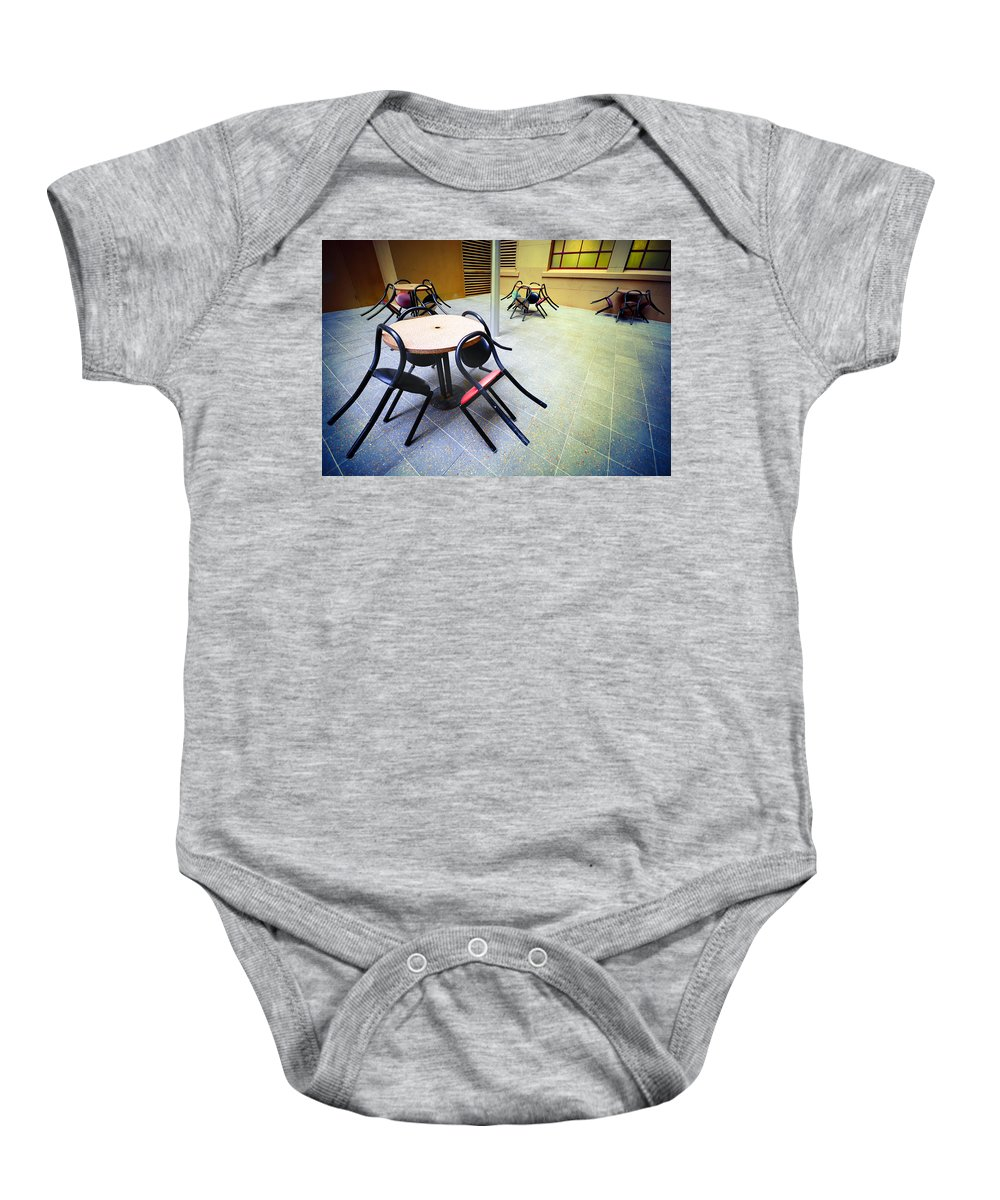 Chairs Baby Onesie featuring the photograph Spiders From Mars by Wayne Sherriff