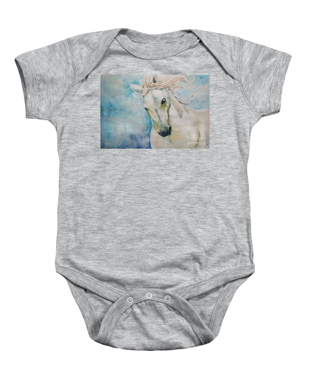 Horse Baby Onesie featuring the painting Spirit by Tamer and Cindy Elsharouni