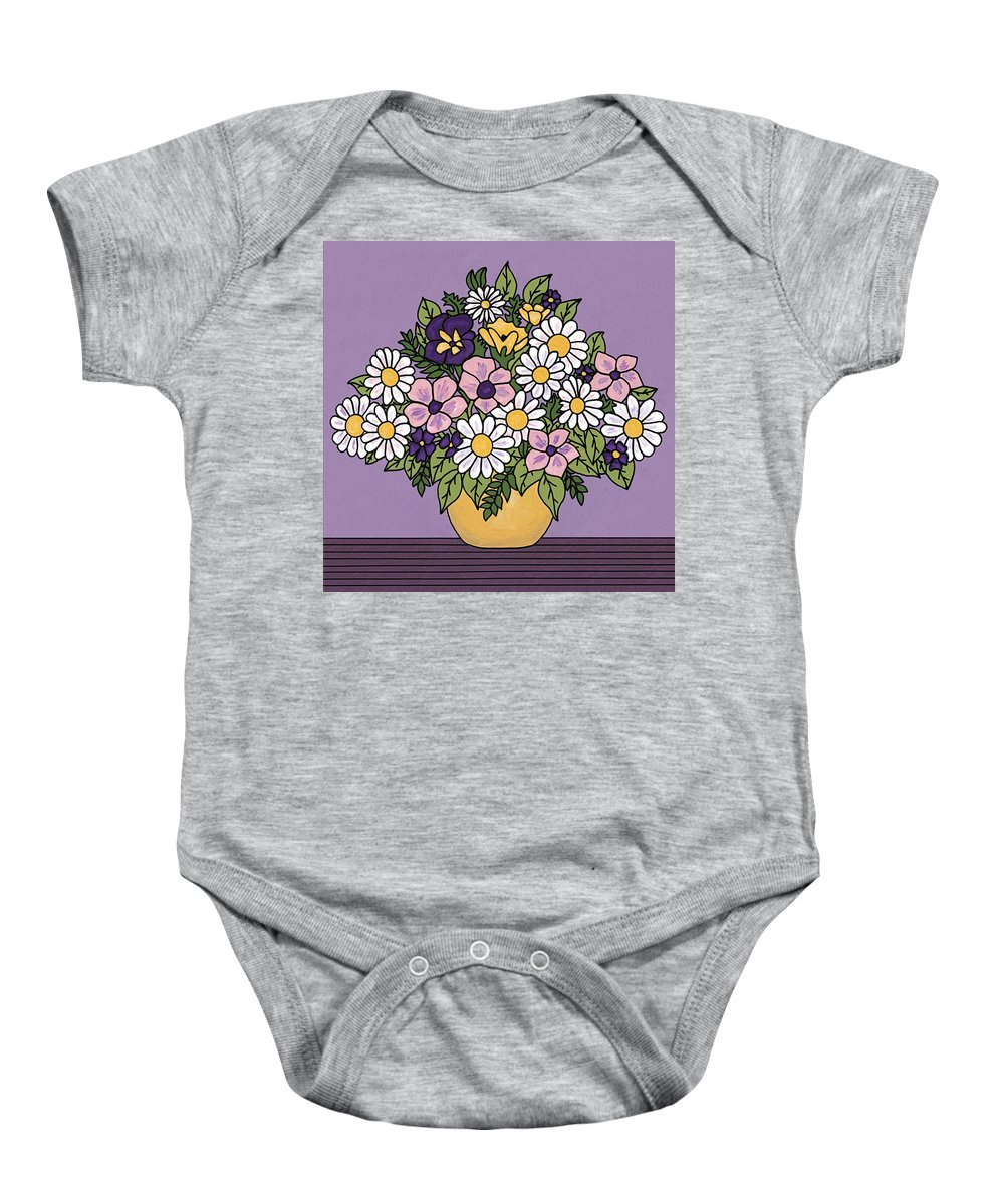 Flower Painting Baby Onesie featuring the painting Spring Bouquet by Medana Gabbard