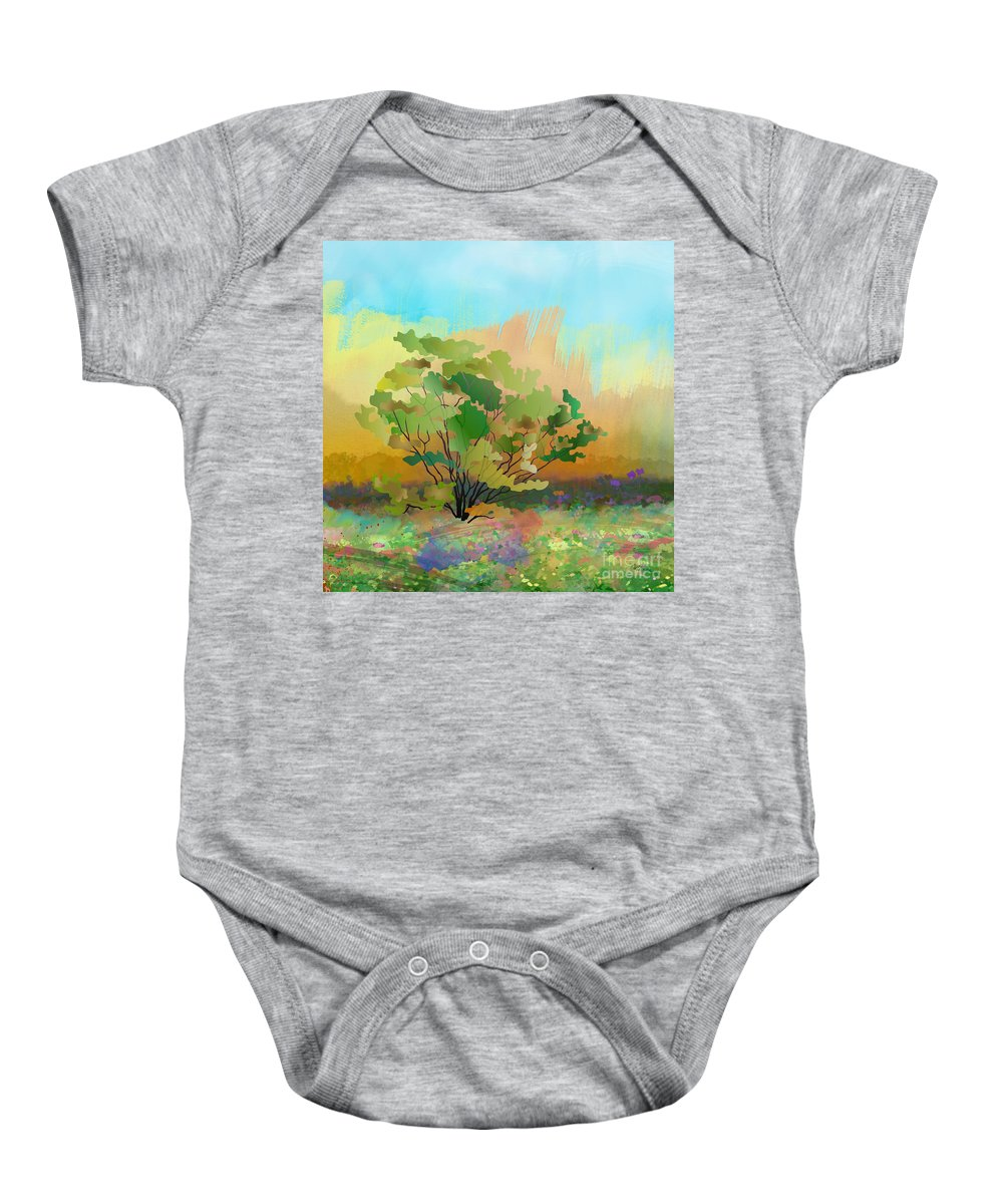 Spring Baby Onesie featuring the digital art Spring Field by Peter Awax