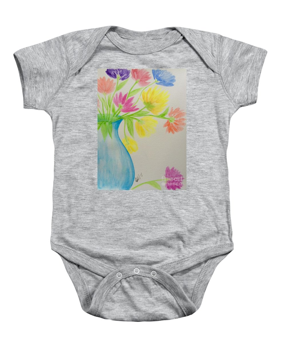 Spring Baby Onesie featuring the painting Spring In A Vase by Gail Nandlal