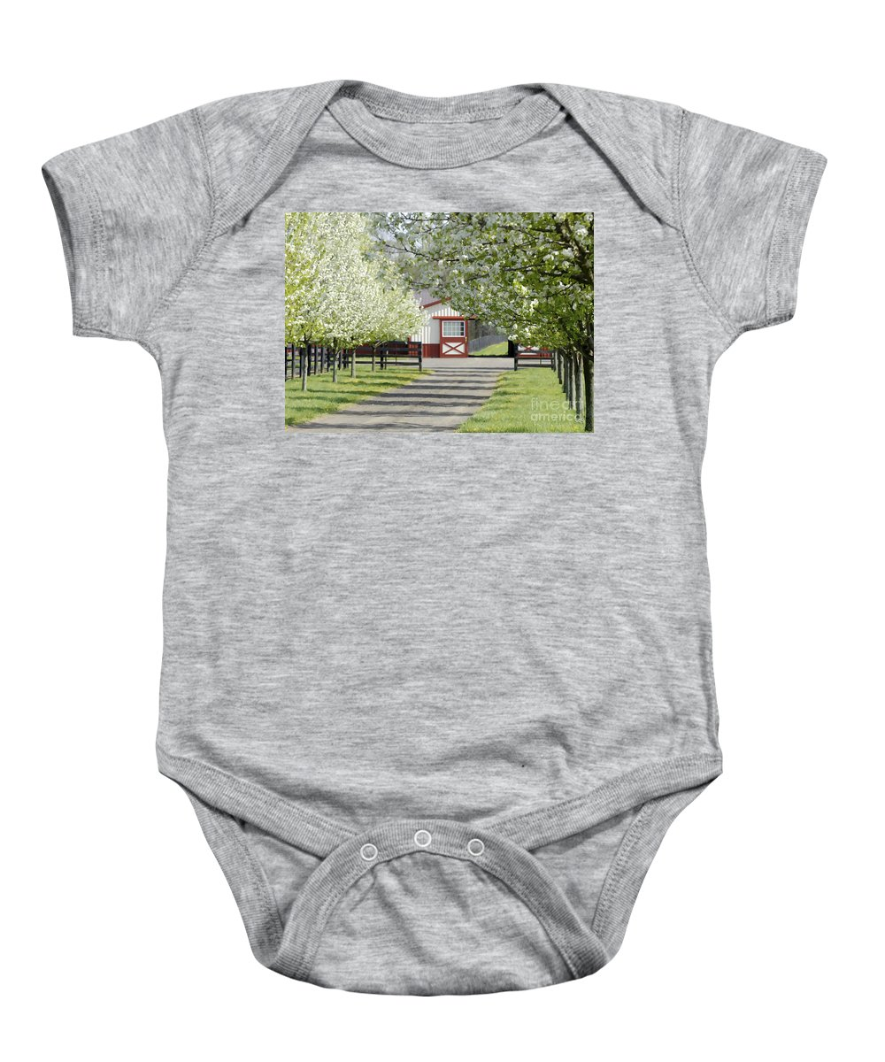 Landscape Baby Onesie featuring the photograph Spring Time At The Farm by Sami Martin