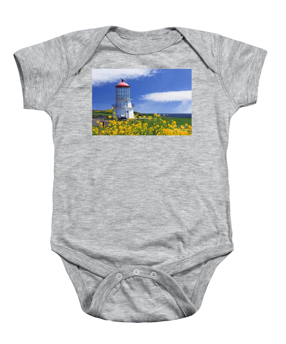 Lighthouse Baby Onesie featuring the photograph Springtime Lighthouse by James Eddy