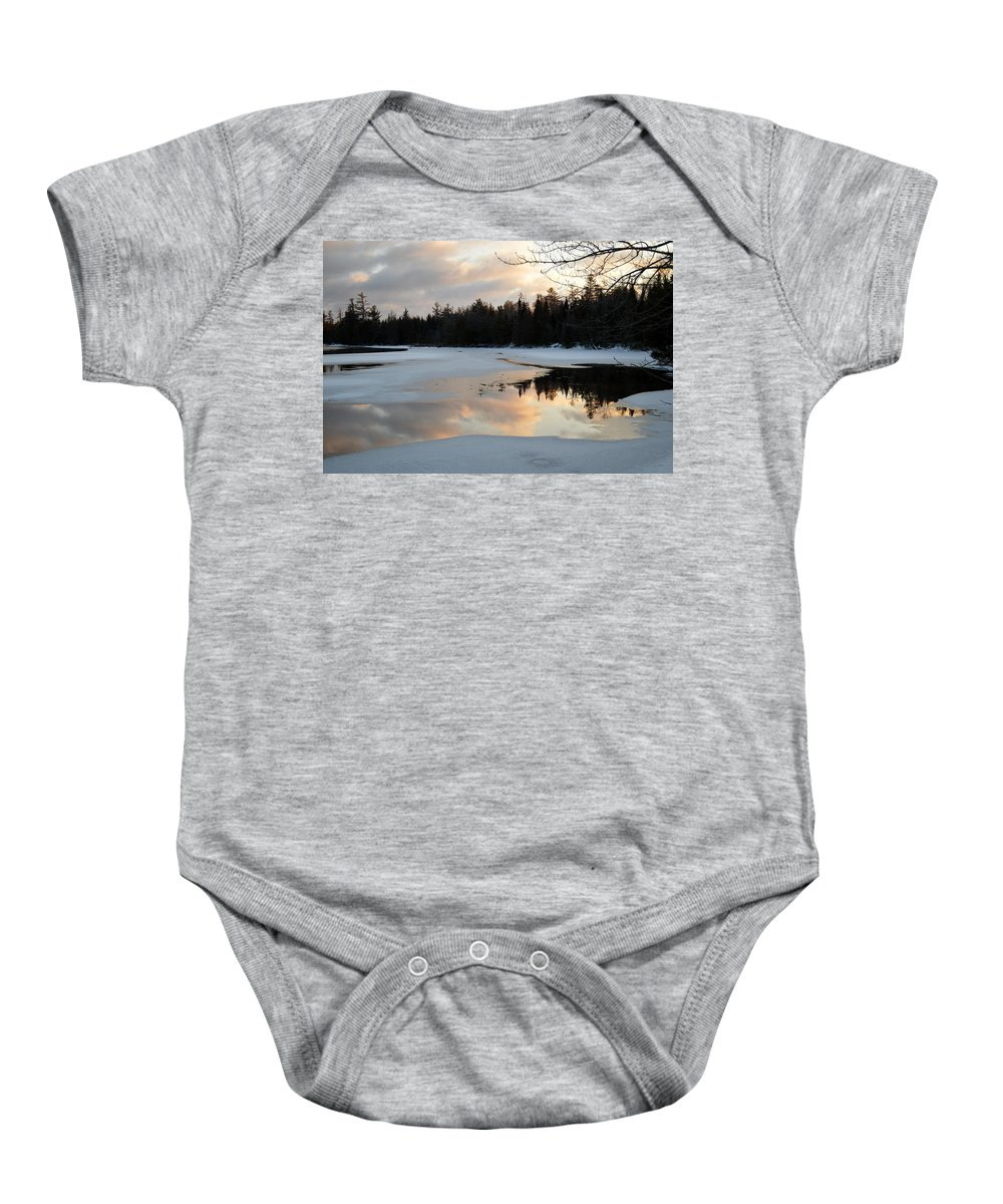 Clouds Baby Onesie featuring the photograph Springtime Reflection by Thomas Phillips