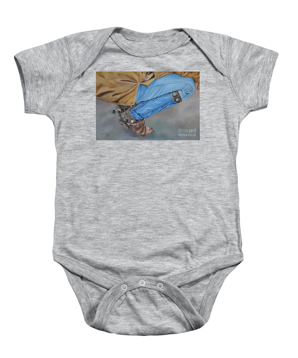 Art Baby Onesie featuring the painting Spur Squatting by Mary Rogers