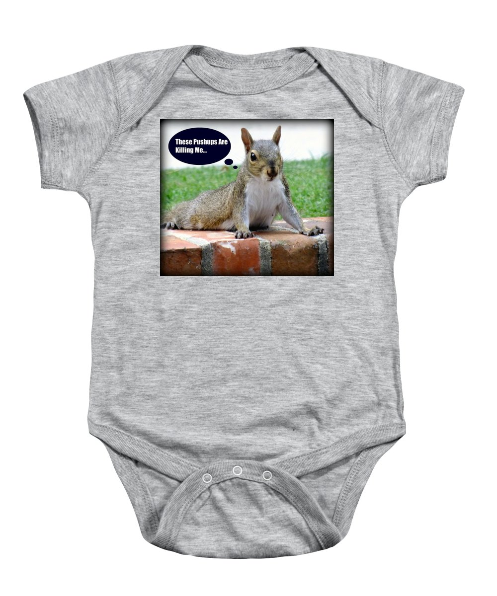 Gym Art Baby Onesie featuring the photograph Squirrely Push Ups by Karen Wiles