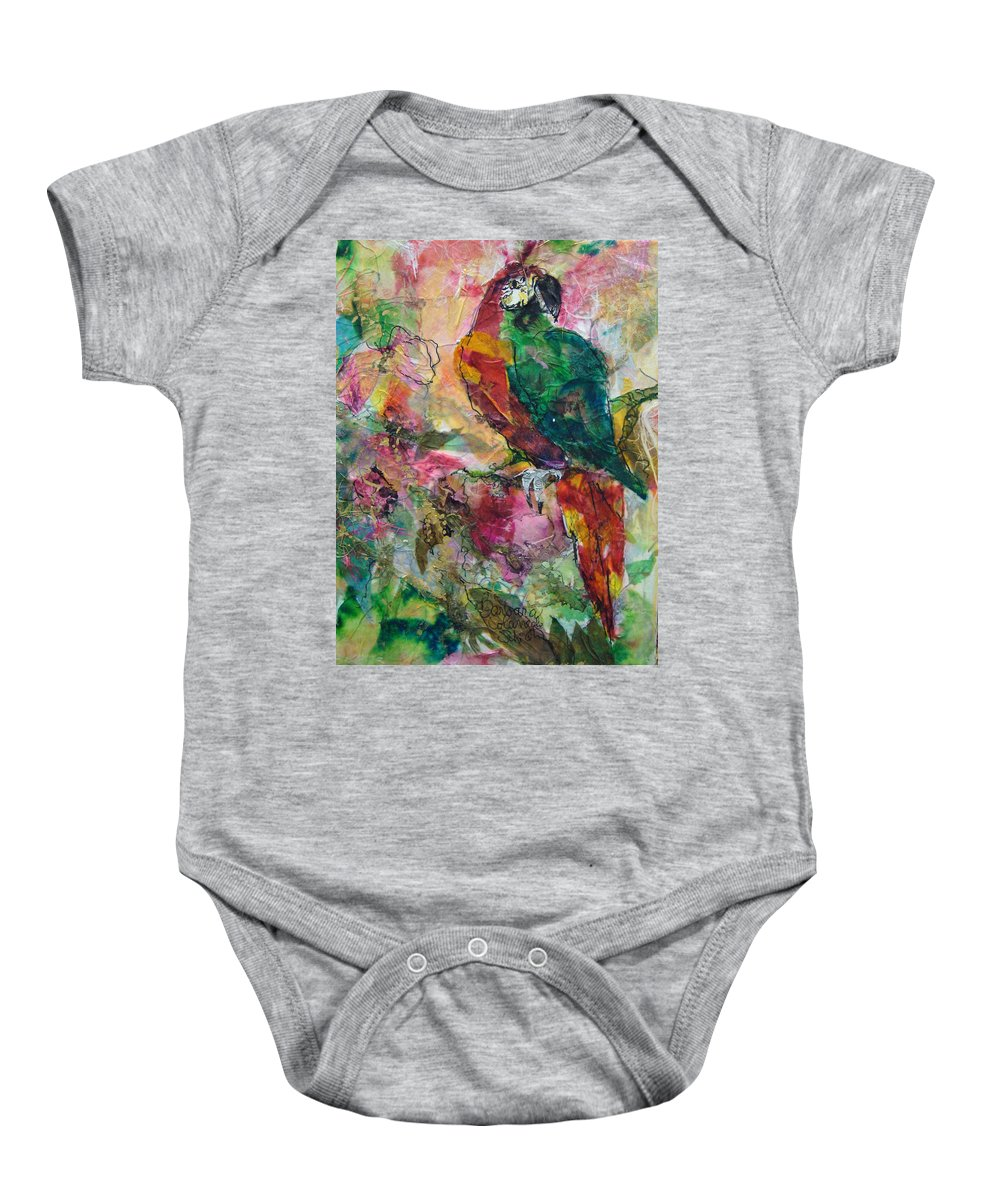 Tropical Baby Onesie featuring the painting Sr. Pappagallo by Barbara Colangelo
