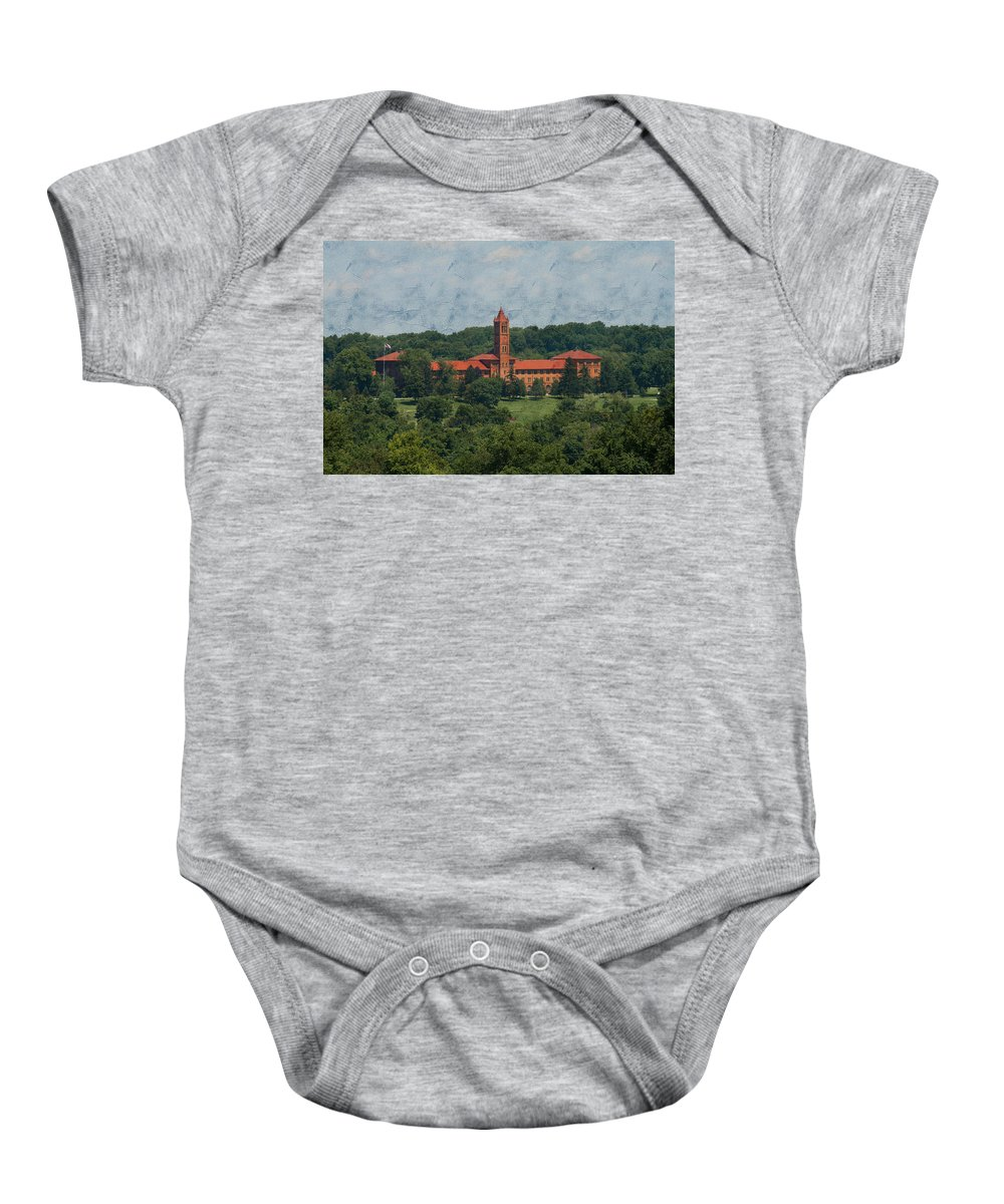 St. Gabriels Hall Baby Onesie featuring the photograph St. Gabriel's From Valley Forge by Michael Porchik