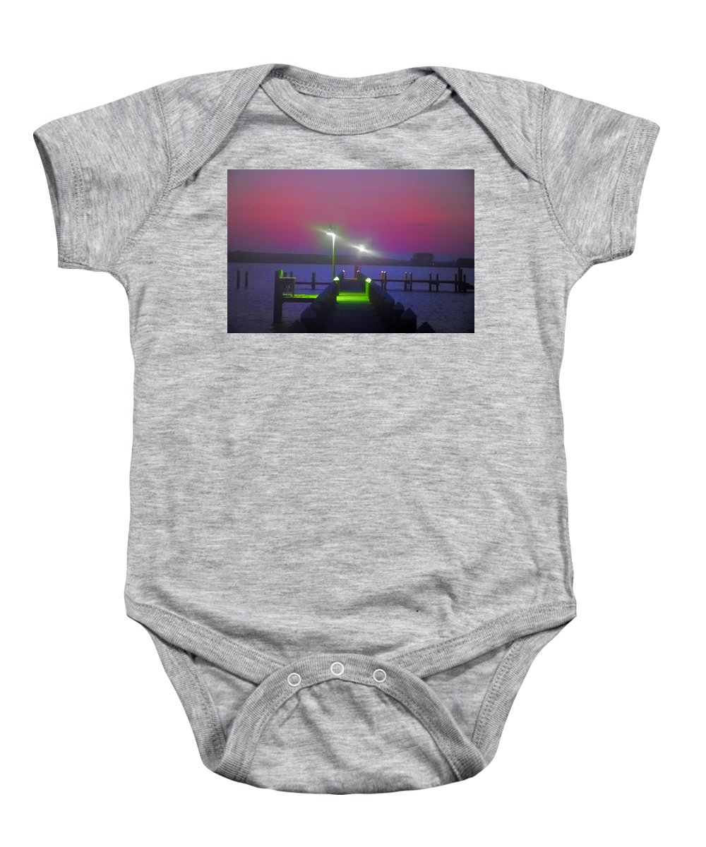 St. Baby Onesie featuring the photograph St. Georges Island Dock - Just Before Sunrise by Bill Cannon