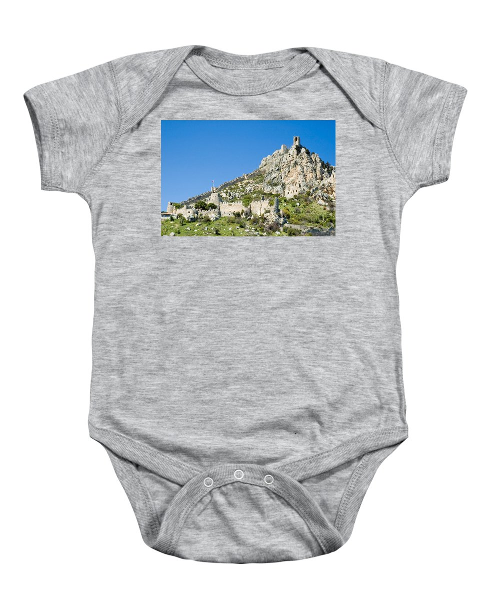 Cyprus Baby Onesie featuring the photograph St Hilarion Castle by Jeremy Voisey
